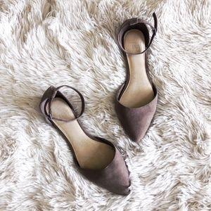 GAP dark khaki d'Orsay ankle strap pointed flats